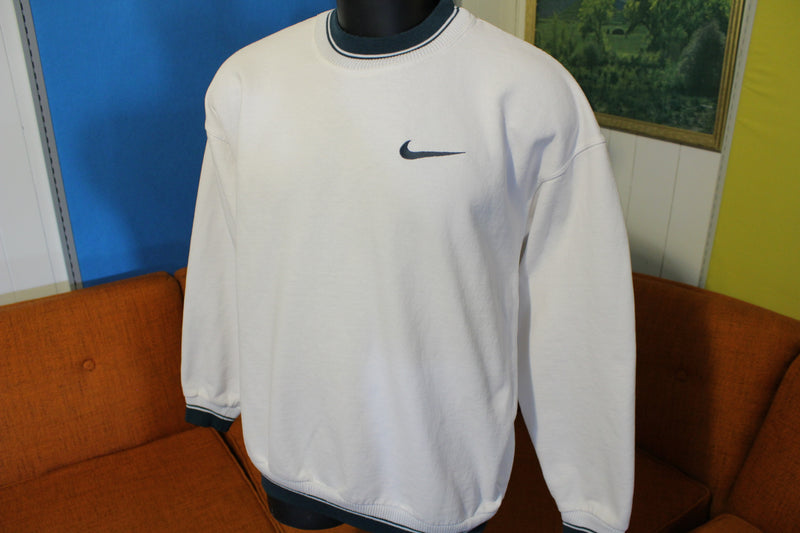 Nike Swoosh Embroidered Logo Crewneck Vtg 90s Striped Trim Sweatshirt Tag
