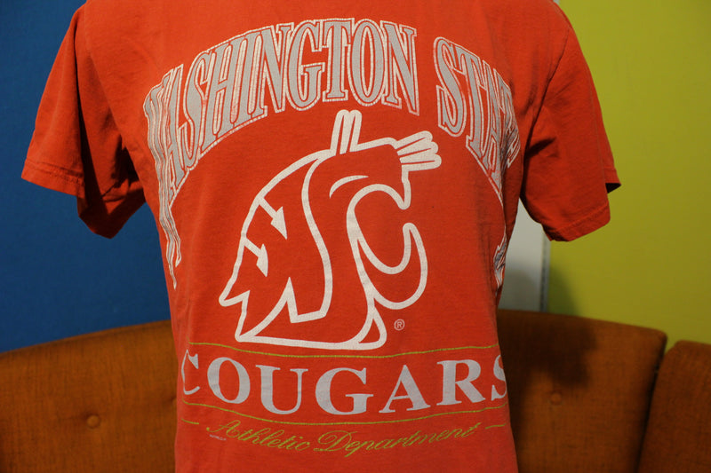 WSU Nutmeg USA T-Shirt. Vintage 80's Washington State University Cougars Tee.