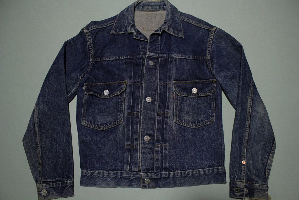 Levis Vintage 50's Men's Big E Type 2 Selvedge Denim Trucker Pleated Small Jacket