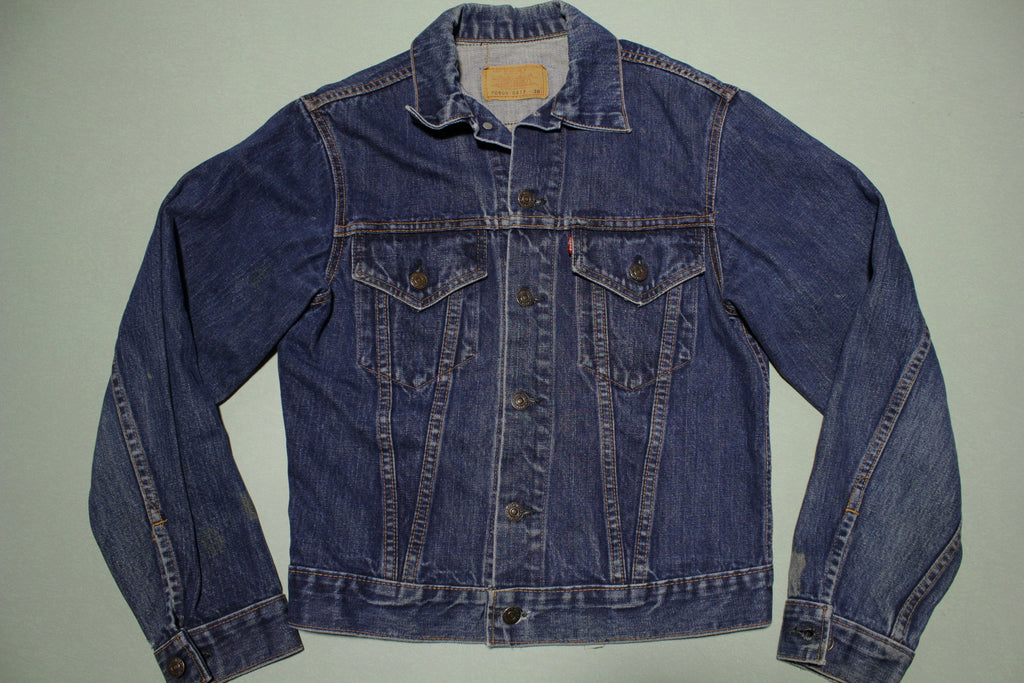 Levis Vintage Type III Late 1960's Big E 70505-0217 38 Jean Jacket W/ Orange Bar Tack