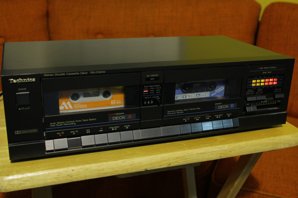 Technics RS-D160W Dual Cassette Deck High Speed Editing Dolby NR Auto 1987