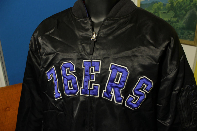 Hardwood Classics Mens Philadelphia 76ers Reversible Satin Jacket Navy VTG Retro 2XL