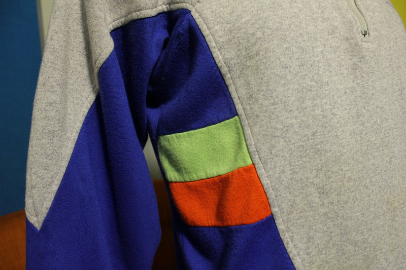 McGregor Vintage Multi Colorway Neon 80s 90s Color Block Sweatshirt Half Zip Pullover