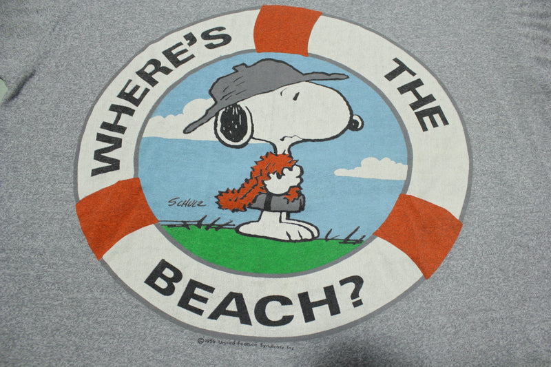 Snoopy Peanuts 1958 Graphic Wheres The Beach Vintage 80s Single Stitch Promo T-Shirt
