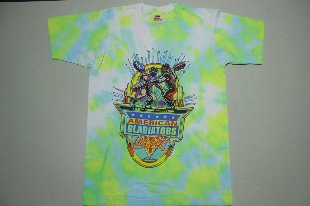 American Gladiators Vintage 1992 Tie Dye Live Tour Only The Strong Survive T-Shirt