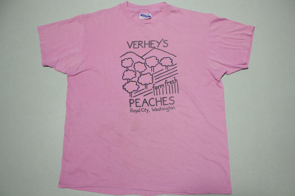 Verhey's Farm Fresh Peaches Royal City Washington Vintage 80s Hanes USA T-Shirt