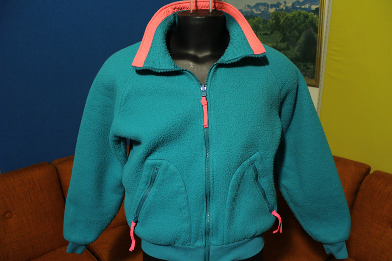 Columbia Made in USA Vintage 90's Neon Green Pink Color Way Fleece Jacket.