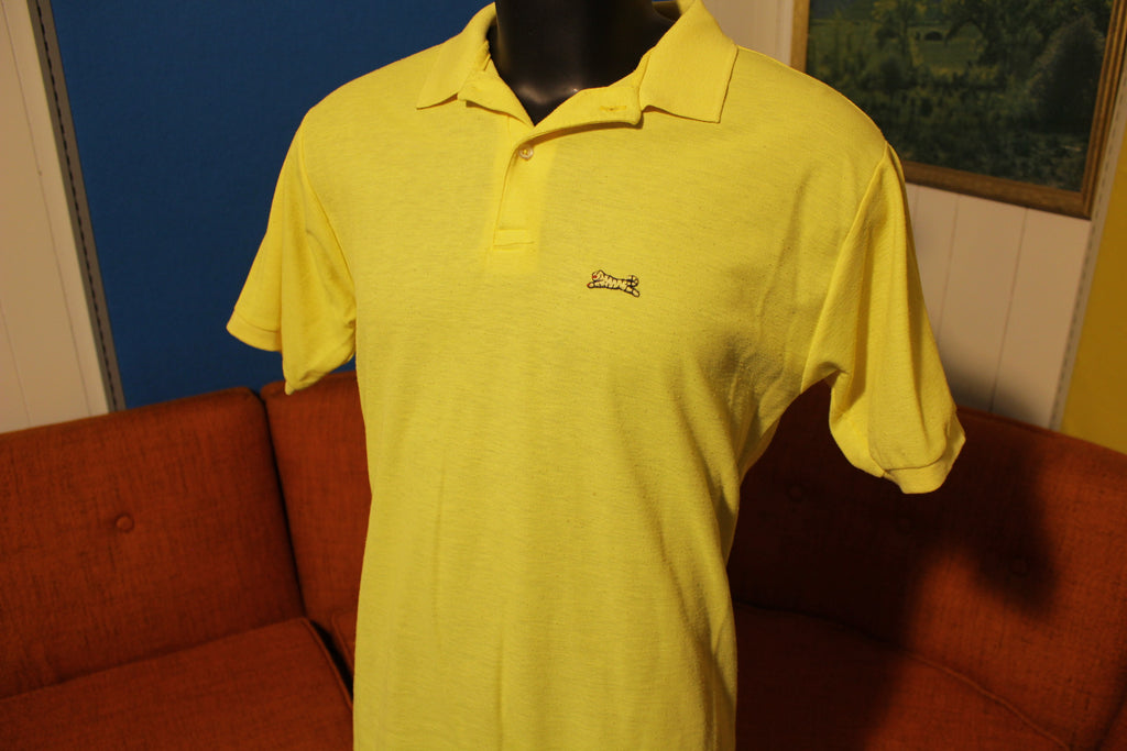 LeTIGRE Vintage 80's Made in USA Yellow Polo Tiger Shirt Short Sleeve Yellow Large.