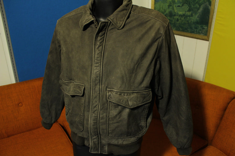 Savile Row Vintage Flight Bomber Leather Jacket Zip Up Pilot Quilt Lined Coat