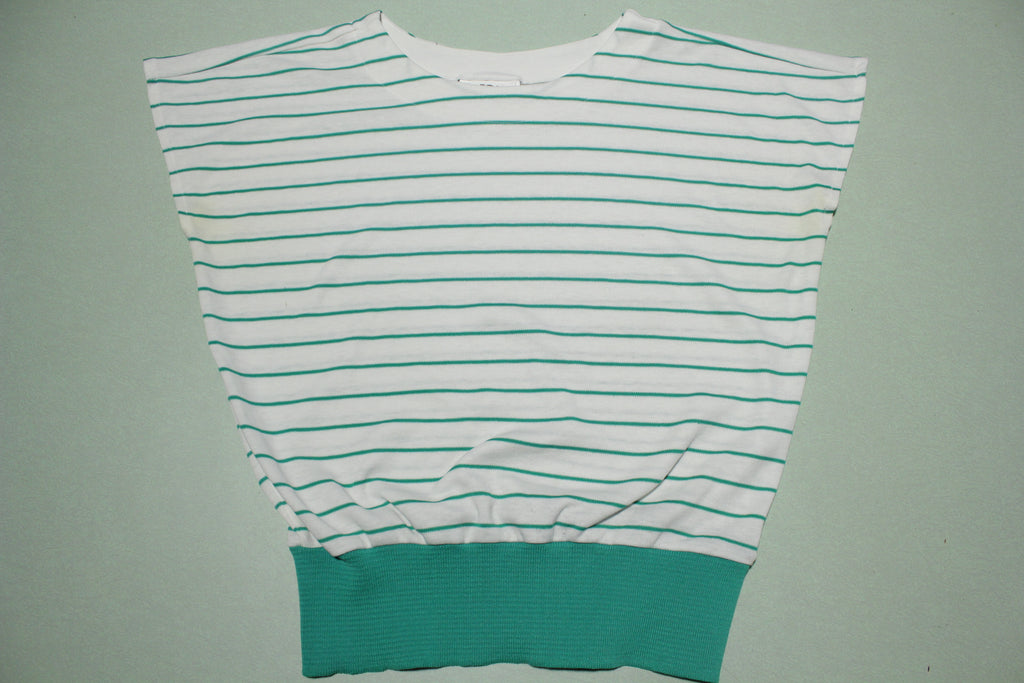 LeFolio Womens Sleeveless 80's New Wave Striped Top Shirt