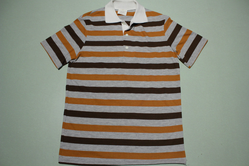 Brown Striped 1980's White Collar Polo Shirt