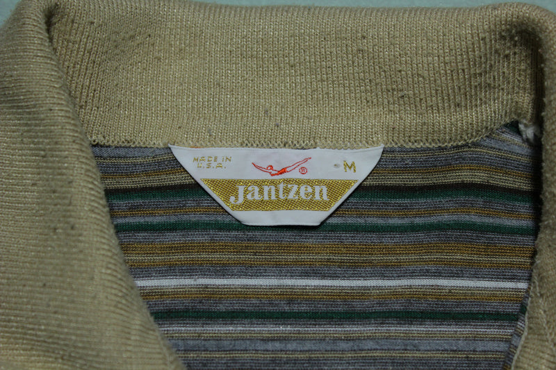 Jantzen Made in USA 1980's White Gold Tag Polo Golf Tennis Shirt