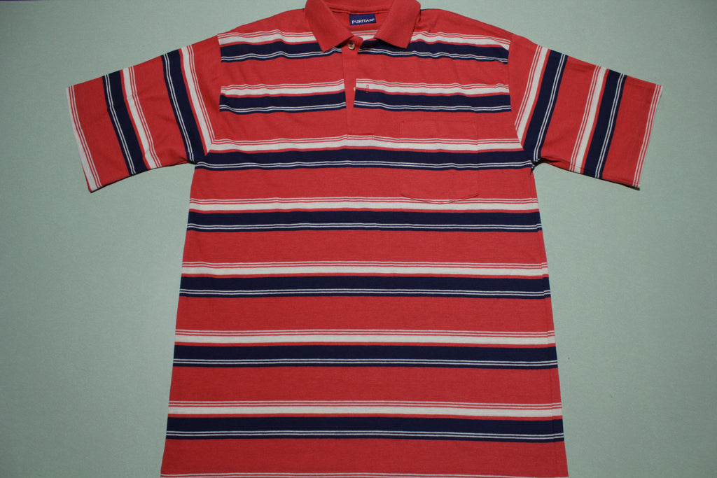 Puritan 1980's Striped Polo Golf Tennis Shirt