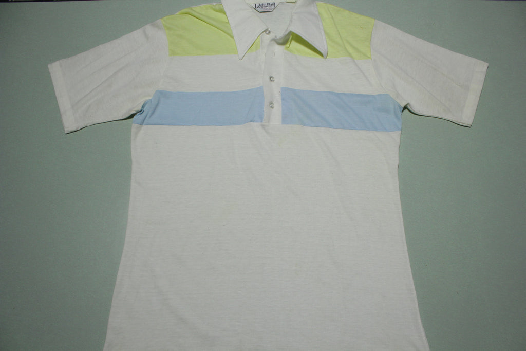 John Blair Menswear 1980's Striped Polo Golf Tennis Shirt