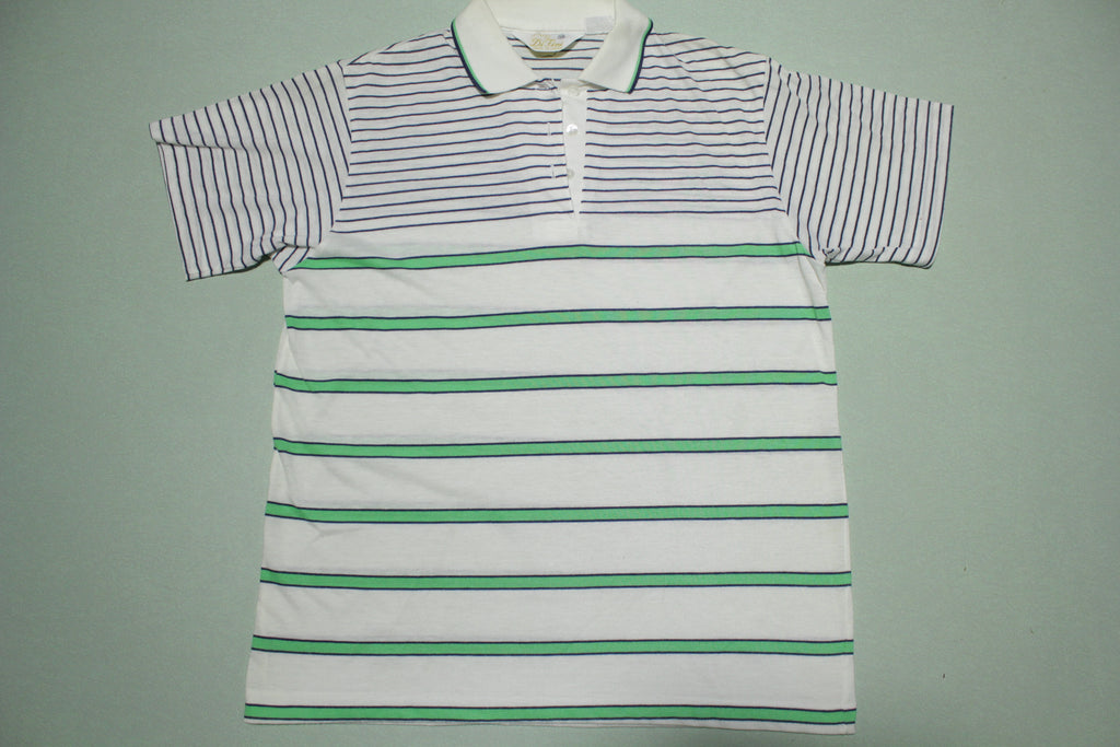 Knitwear by DiFini Japan 1980's Striped Polo Golf Tennis Shirt