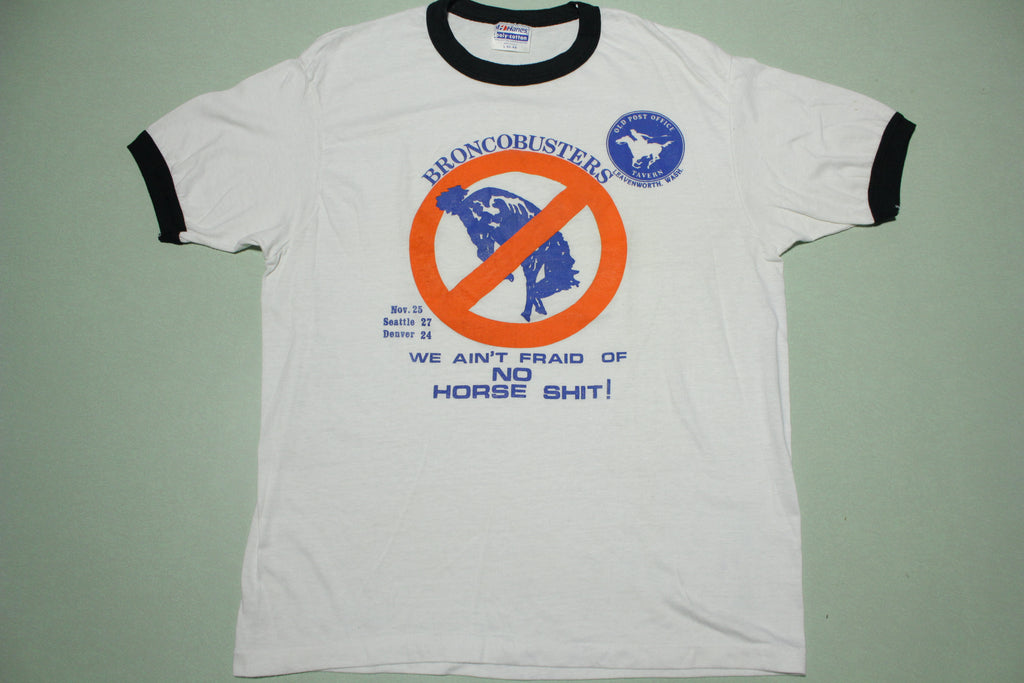 BroncoBusters 1984 Vintage No Horse Shit Seattle Seahawks Victory 80s T-Shirt