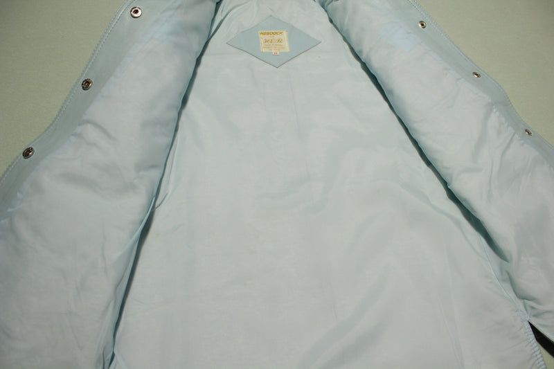 Wesook Vintage Baby Blue Leather 70s Disco Shirt Jacket