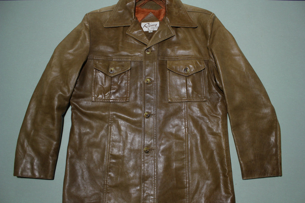 Remy Leather Fashions Two Pocket 70s Caramel BrownSoft  Disco Shirt Jacket