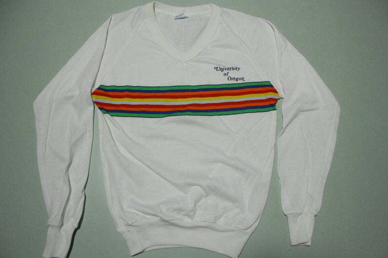 University of Oregon Rainbow Striped 80s Long Sleeve T-Shirt
