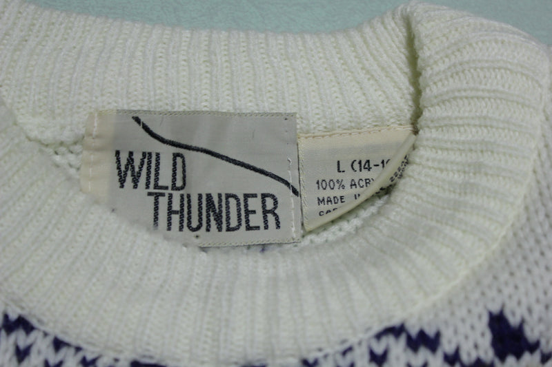 Wild Thunder Vintage 100% Acrylic Knit Pullover Warm 80s Fireside Sweater