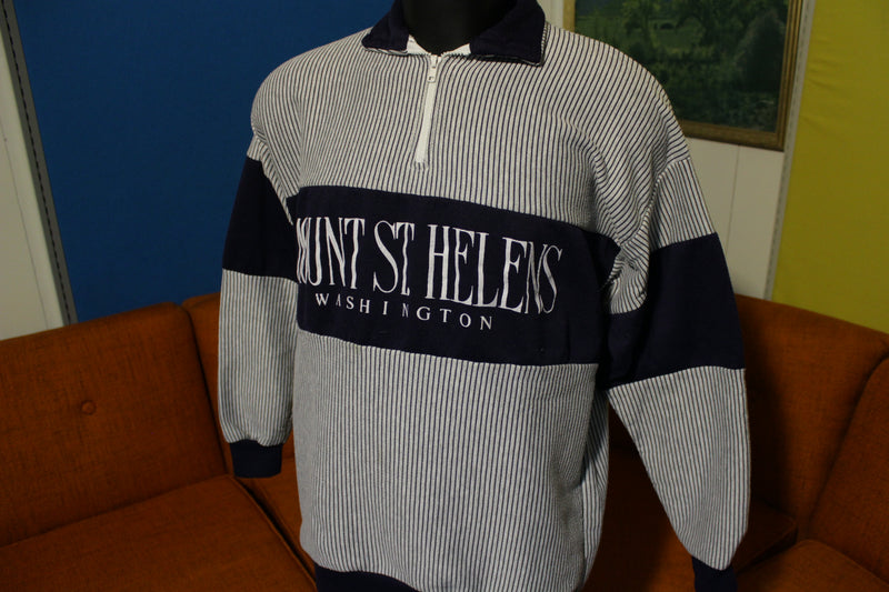 Mt. St. Helens 80's 90's Pinstripe Zip Up Pullover Washington Polo Volcano Sweatshirt