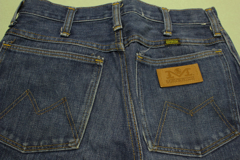 Maverick Vintage 70's Blue Denim Dark Washed Flare Jeans 26x30