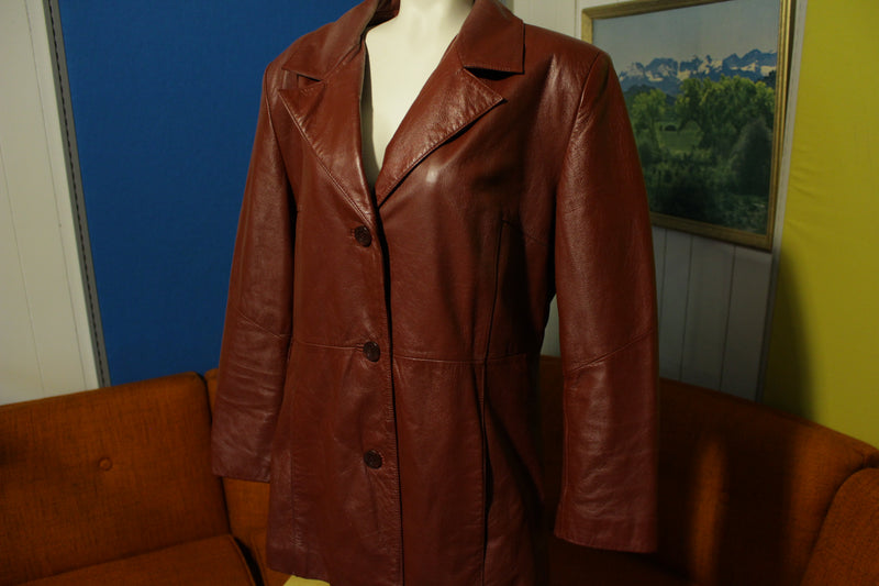 Wilsons Leather Experts 3 Button Red Womens Jacket Blazer Fitted Sport Coat