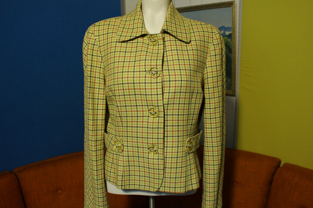 Elliott Lauren Vintage Checkered Plaid 70's 80's Womens Blazer Jacket Cute!