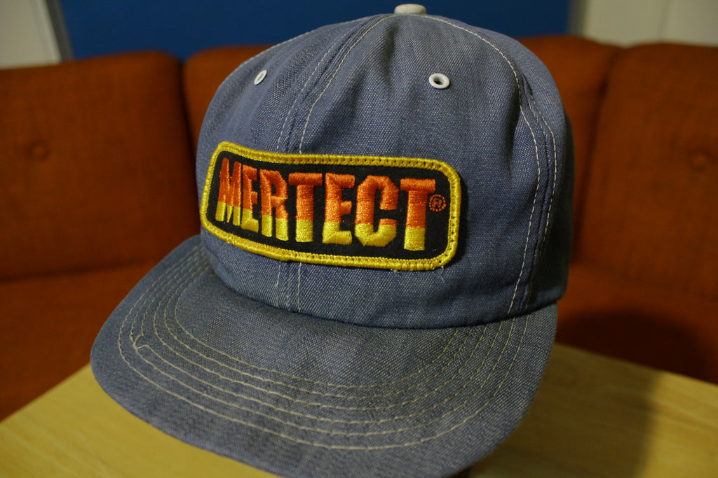 Mertect Patch Snapback Farmer Trucker Denim Hat K-Products Brand Vintage 70s