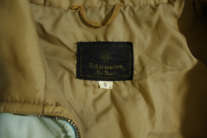 Edelweiss Vintage 70s 80s Womens Small Puffer Puffy Ski Snowboard Jacket Coat