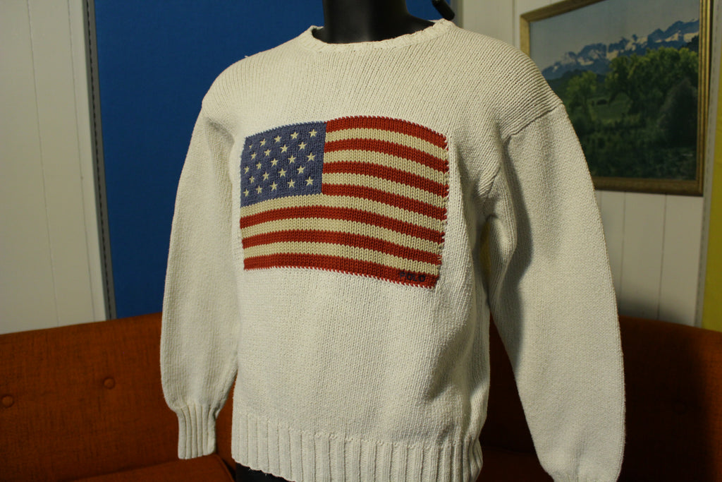 Ralph Lauren Polo Vintage 90's Cotton Knit American US Flag Sweater Medium