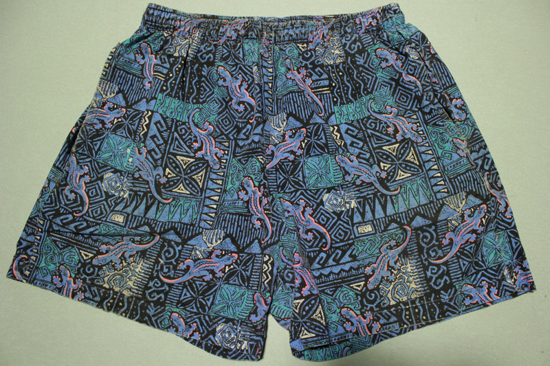 Gecko Vintage 80's  90's All Over Print Baha Summer Shorts