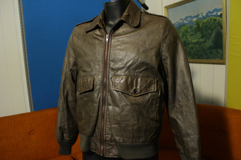 A-2 Clipper Mist Bomber Flight Jacket Leather Londontown Vintage Coat