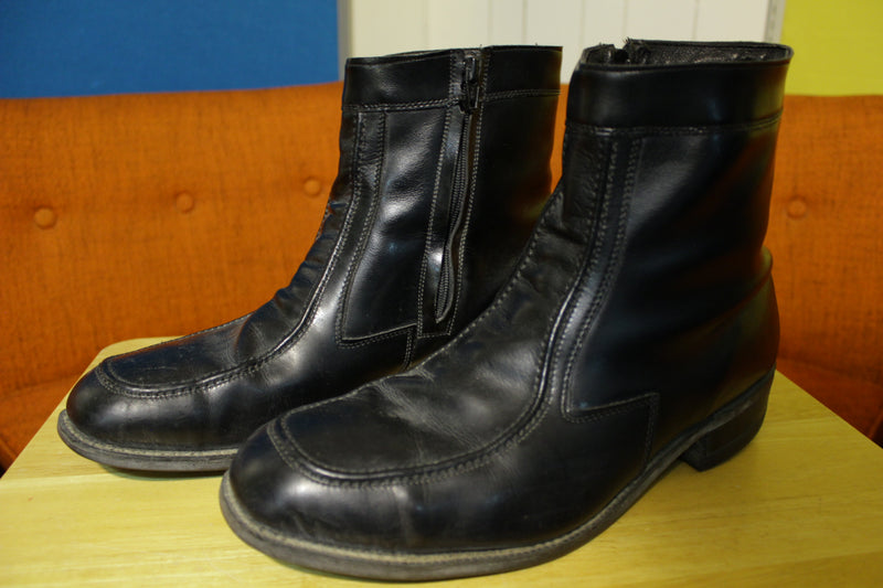Hy-Test Steel Toe Lighttread Tufgum Vintage Black Leather Side Zip Ankle Boots 12