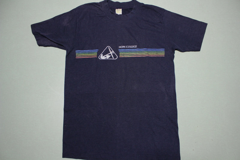 Hope College Rainbow Striped Vintage 80s Velva Sheen Single Stitch USA T-Shirt