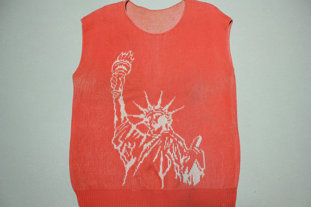 Statue of Liberty Lady Justice Vintage 80s NYC Sleeveless Top Shirt