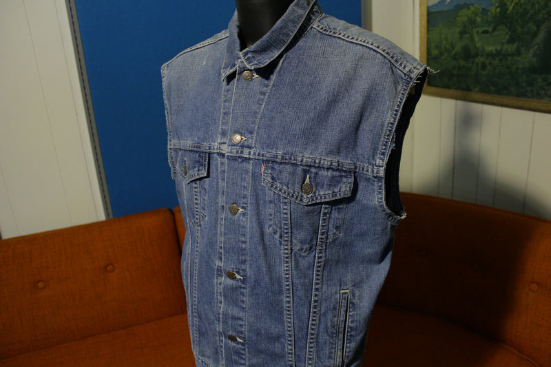 Levis 90's Vintage Relaxed Trucker Jean Jacket 80s Vest 70507 Customized Denim