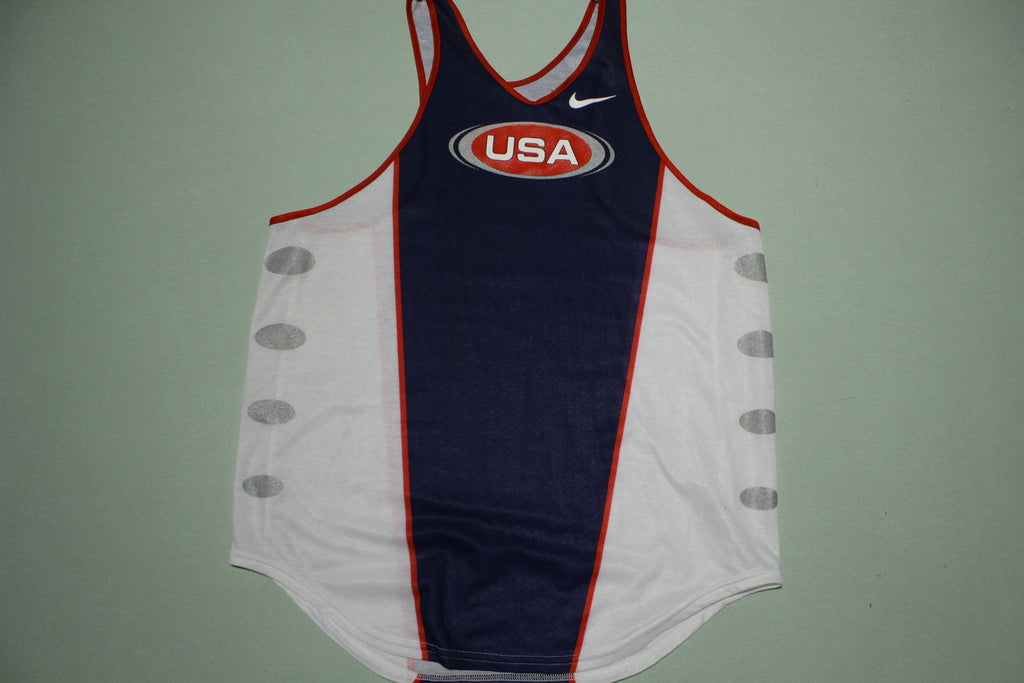 Nike United States Team USA Vintage Olympics 90s White Tag Poly Tank Top