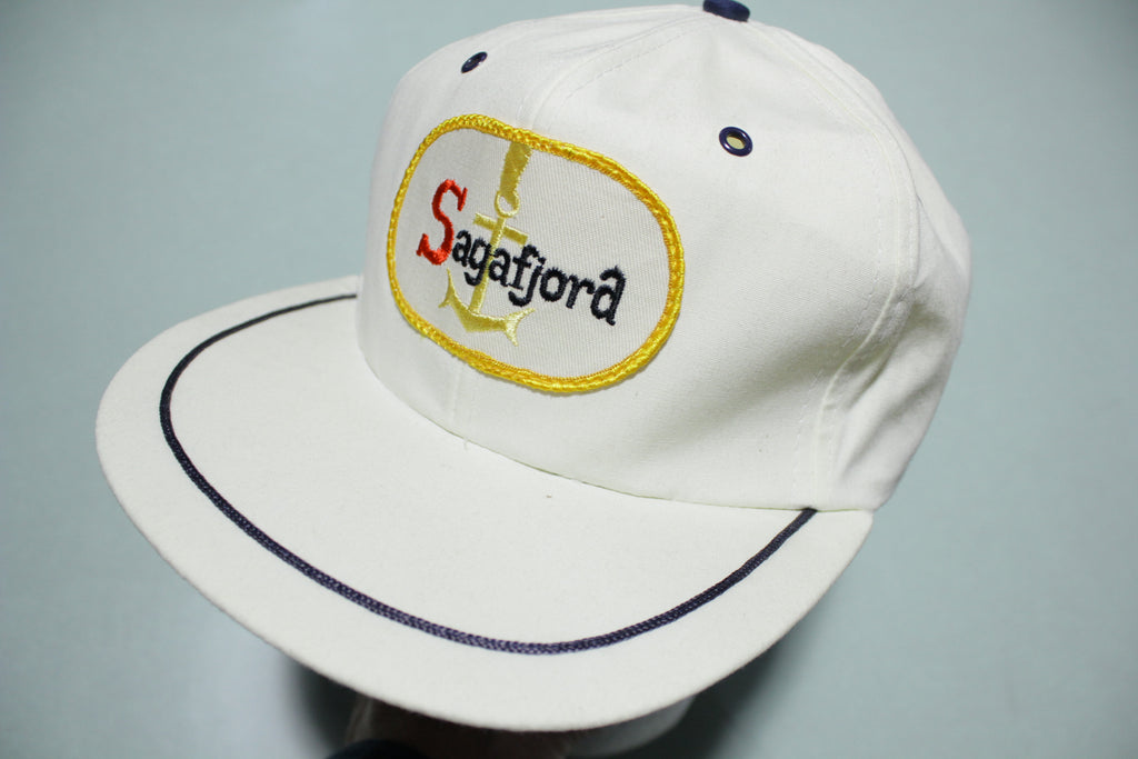 Sagafjord Vintage 70s 80s White Adjustable Back Hat