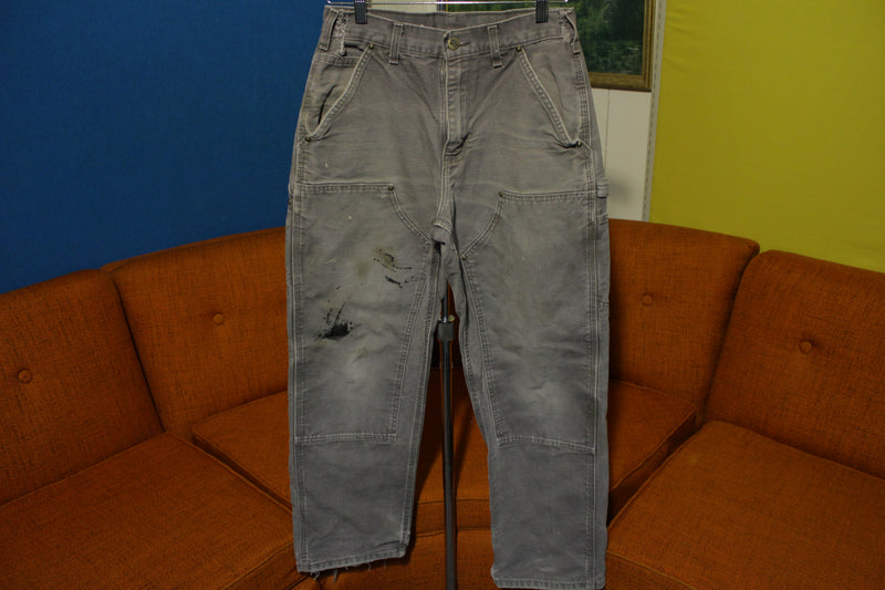 Carhartt B136 GVL 30x29 Washed Duck Work Pants Heavily Distressed Canvas Knee