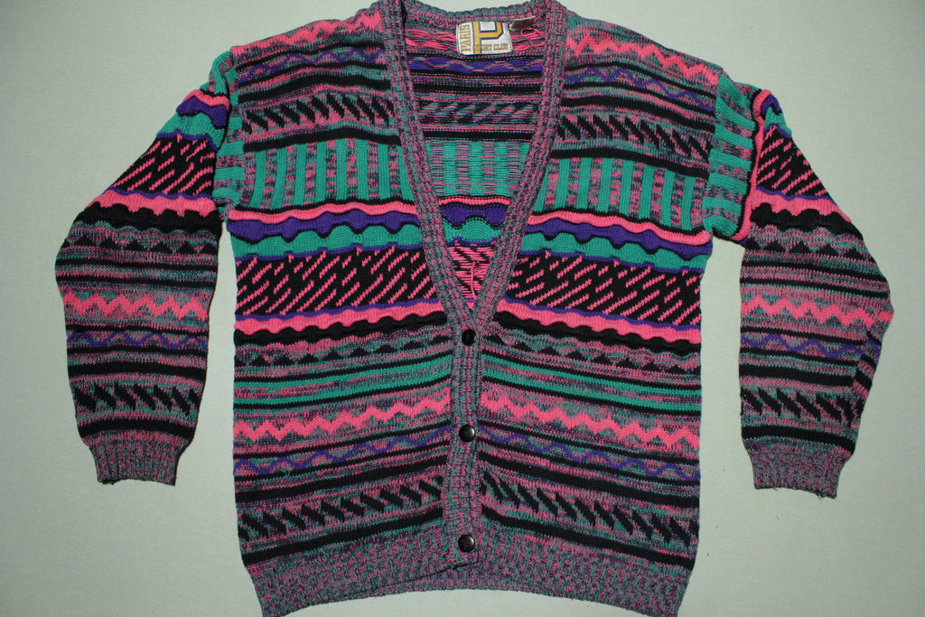 Paris Sports Club Coogi Style Cardigan Pink Vintage 90's Sweater