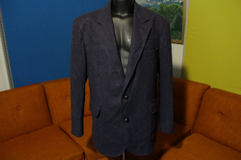 Pendleton Vtg Wool Tweed Patch 50s Blazer Men's 44 Blue Suit Jacket. Distressed!!
