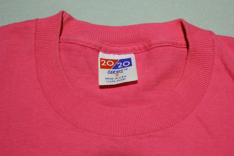 Pink 20/20 Made in USA Blank Single Stitch Pocket T-Shirt 80's
