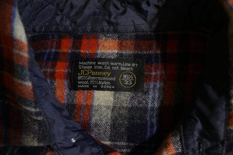 JCPenney Penneys Vtg 70's Wool Flannel Plaid Shirt Pearl Snap Men's Distressed