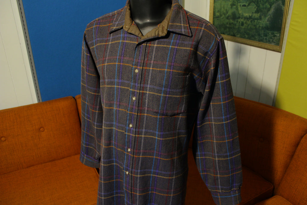 Pendleton Vtg 70s Wool Plaid Button Lodge Shirt Long Sleeve Distressed Flannel