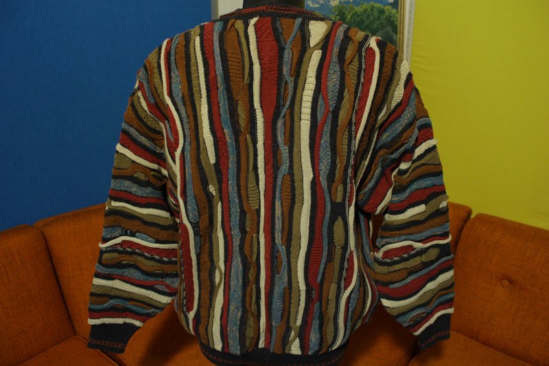 J Ferrar Men's Large Vtg Striped Cardigan Sweater Coogi Style Cosby 90s Hip Hop