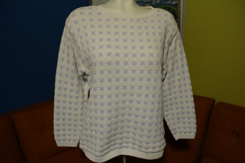 Aileen Vintage Womens Checkered Blue White 80s Sweater USA Made