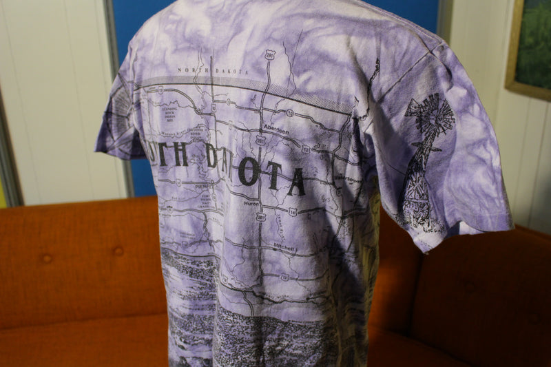 South Dakota Vintage 90s Tribal All Over Print Tie Dye T-Shirt Mt. Rushmore