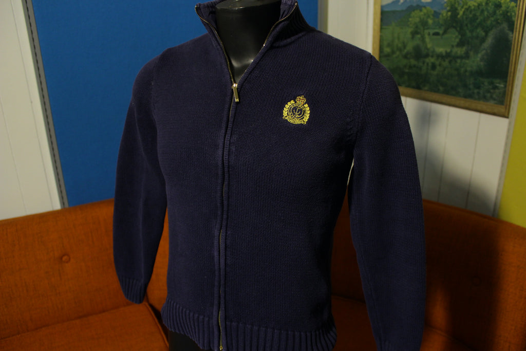 Ralph Lauren Crest Navy Blue 90s Full Zip Unisex Cardigan Sweater Size Small