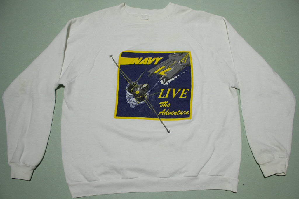 Navy Live The Adventure Vintage 80s Crewneck Made in USA Sweatshirt